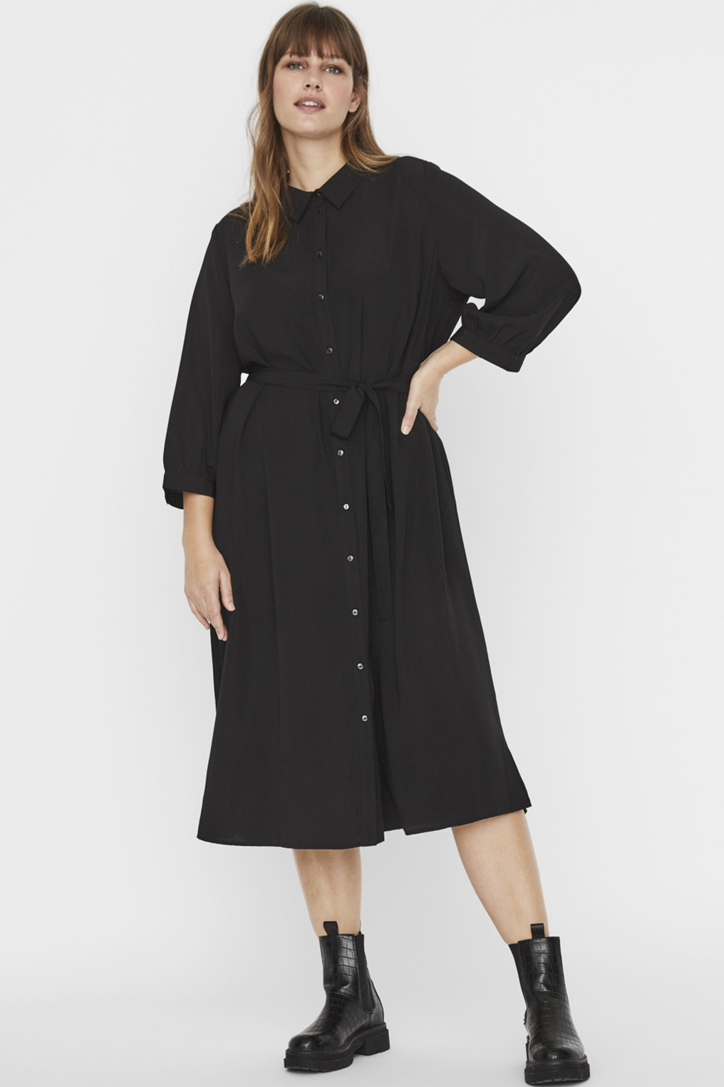 VMCARA 3/4 CALF SHIRT DRESS WVN CUR: