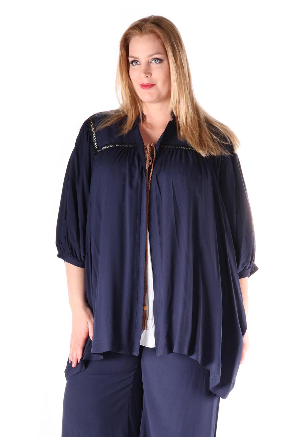 Blouse Mat fashion vlecht koord hals