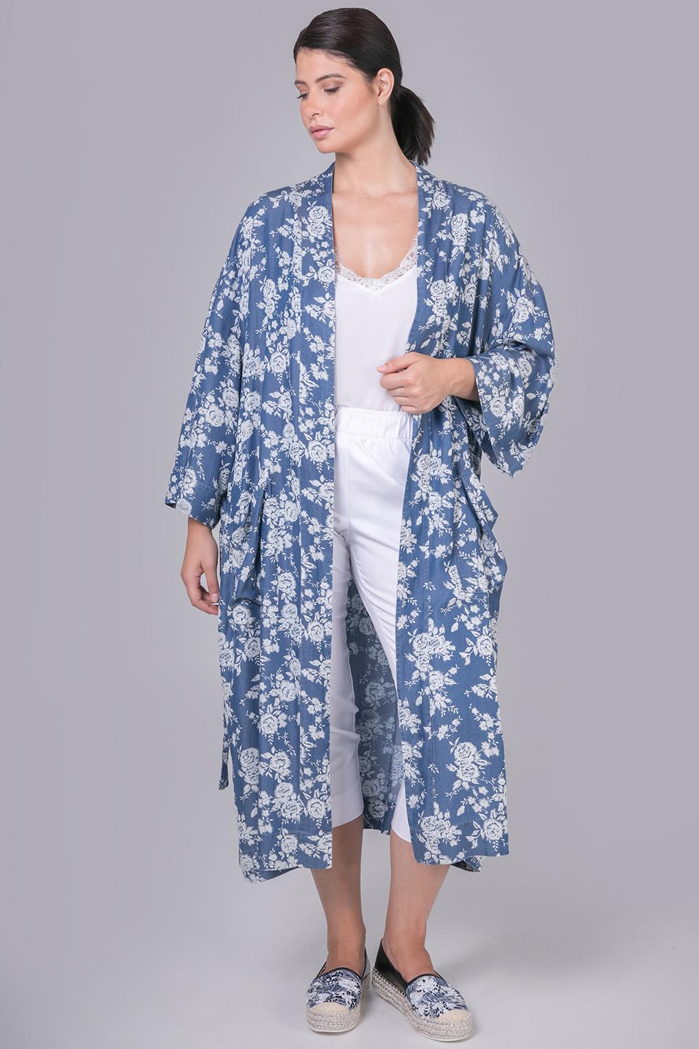 Jas Mat kimonolook denim gebloemd