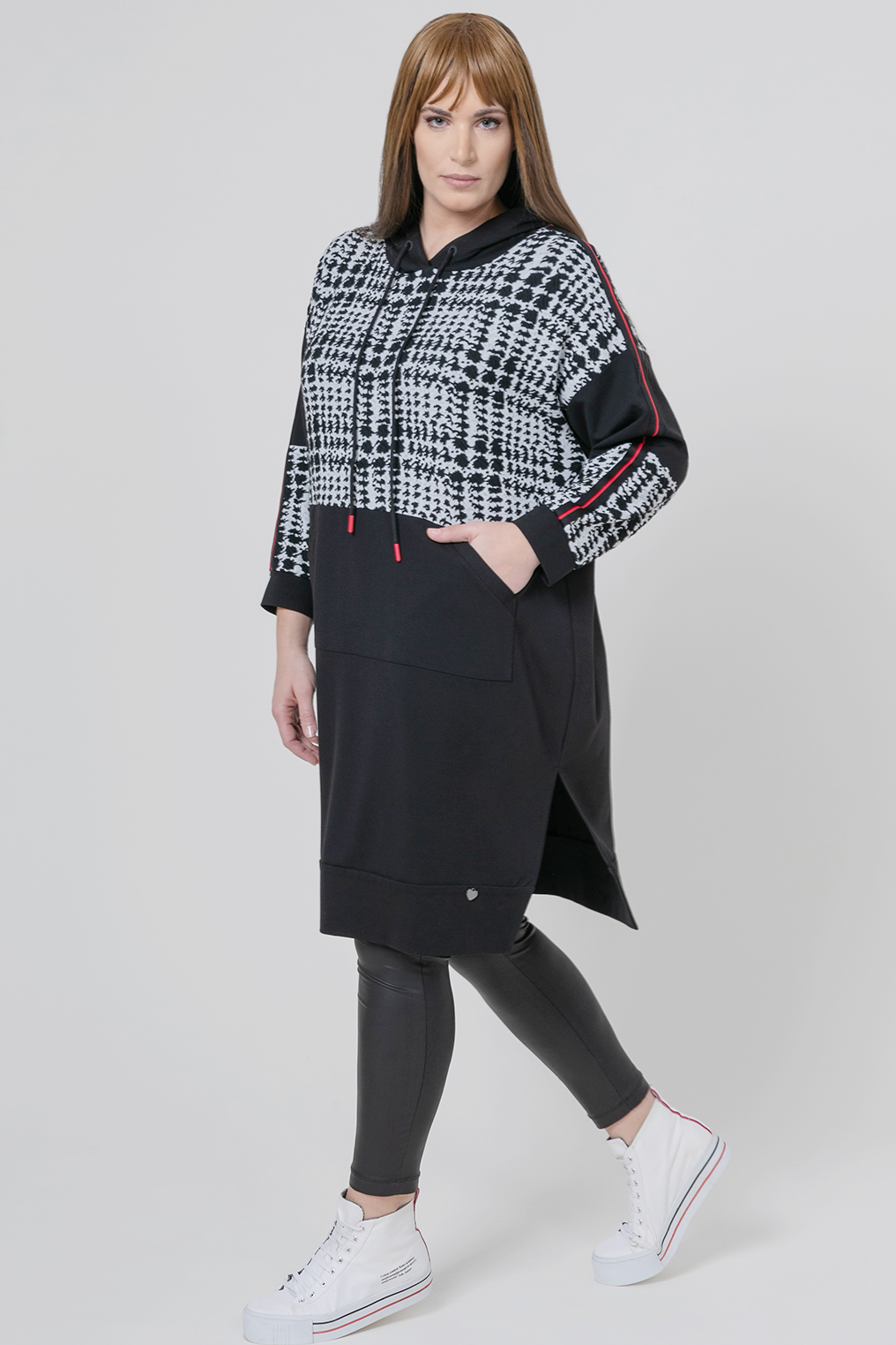 Mat fashion tuniek uni print combi