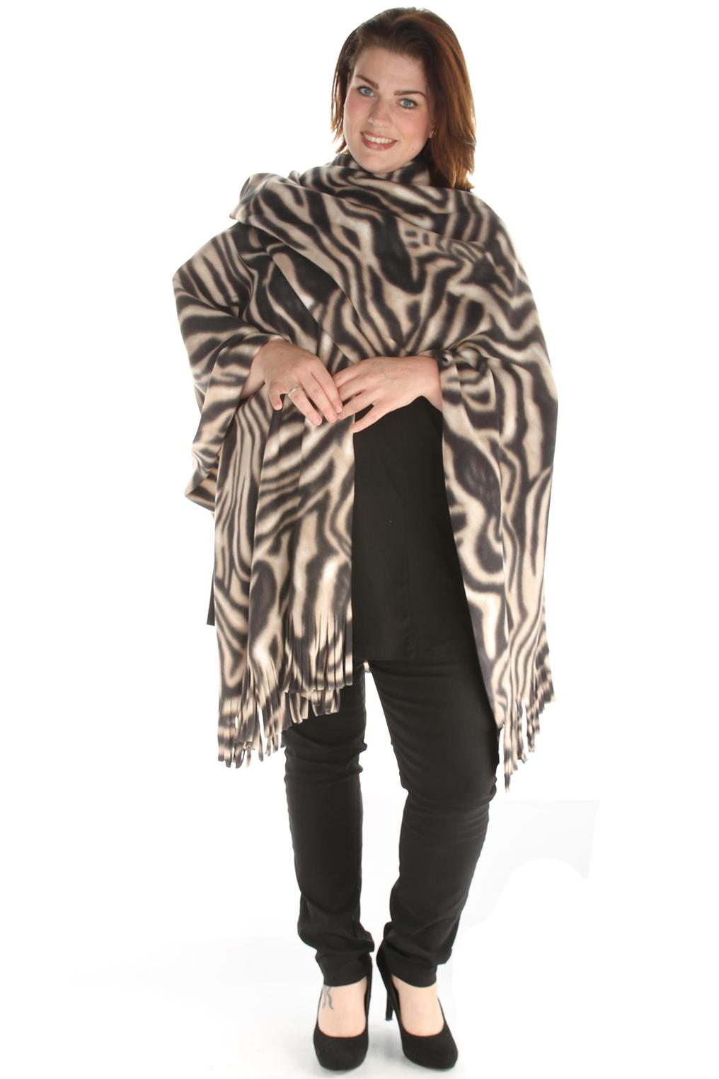 Sjaal Boris poncho fleece print