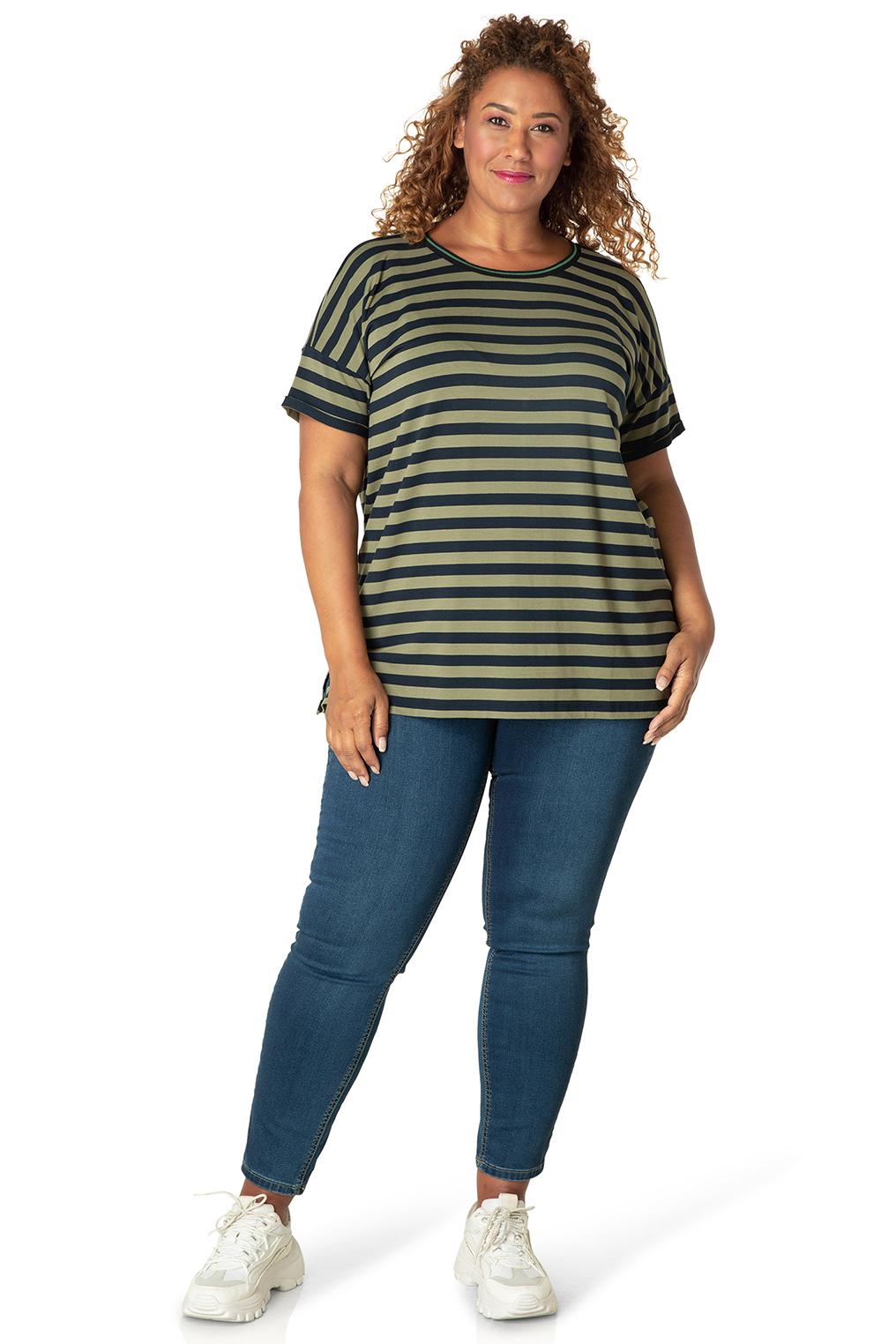 Shirt Yesta 76 cm streep korte mouw