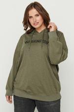 Sweater GUN Zizzi opdruk capuchon