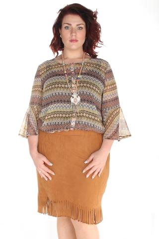 Grote maten Rok Maxima fashion suedine | 11619came50