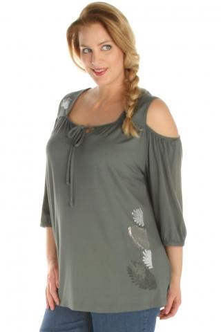 Grote maten Shirt Sempre Piu opening schouder   8716 7444coba/lila58