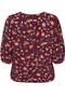 Grote maten Shirt Junarose HIVAS bloemprint | 21008067Red/AOP46