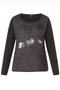 Shirt Yesta print voor zilver veeg