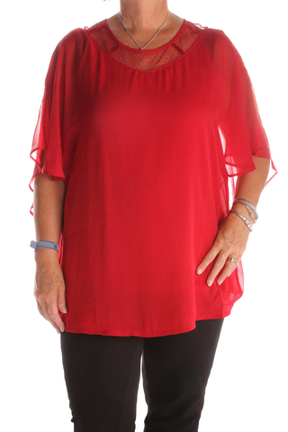 Grote maten Blouse Zhenzi voile kant pas hals   2110140roodS=42-44
