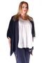 Grote maten Blouse Mat fashion vlecht koord hals | 7111126BLUEOne Size