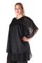 Grote maten Blouse Mat fashion voile tekstbies   7114005BLACS/M=44-48