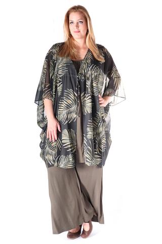 Grote maten Blouse Mat fashion wijd striksluitin | 7114027KHAKOne Size