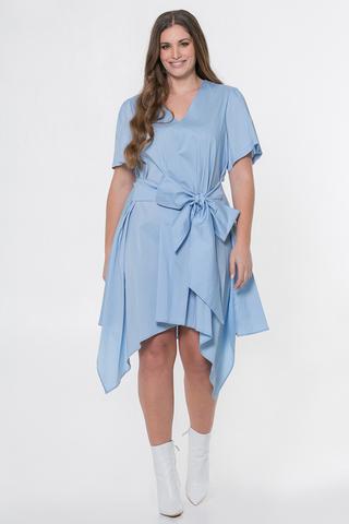Grote maten Jurk Mat fashion grote strik   7117042LIGH/BLUES=44-46