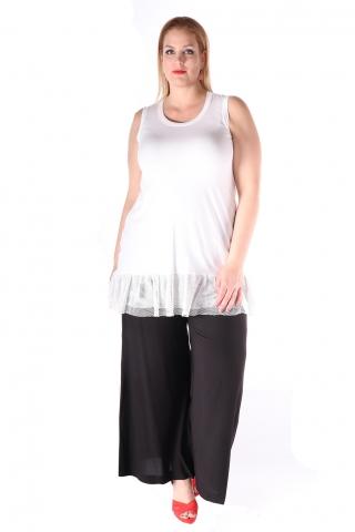 Grote maten Tuniek Mat fashion gaas rand zoom | 7117082WHITS=44-46