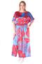 Grote maten Jurk Mat fashion stijn print lang | 7117124RED/BLUEL/XL=50-54