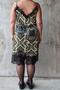 Grote maten Jurk Mat fashion print kant detail | 72017151BLACS/M=44-48