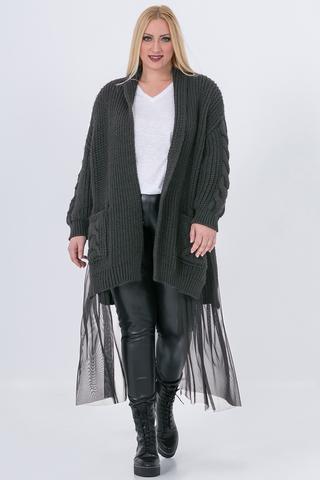 Grote maten Vest Mat fashion voile onderkant | 72015014GREYS/M=44-48