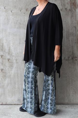 Grote maten Broek Mat fashion velvet snake print   72012056KHAK/OFFWS=44-46