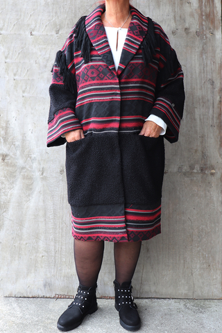 Grote maten Jas Mat fashion print franjes | 72014104BLACS=44-46