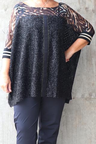 Grote maten Tuniek Mat fashion voile met glitter | 72011140BLAC/BROWO/S