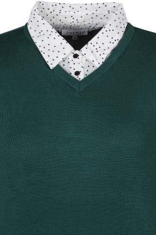 Grote maten Trui Zhenzi blouse detail | 2608301BUGR/6950S=42-44