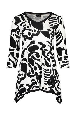 Grote maten Shirt Puck combi print Ophilia | Puck 20 combiblac/OffW1=42