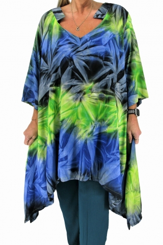 Grote maten Tuniek Horizon V hals Luna Serena | Horizon 2blue/lime46-60 big