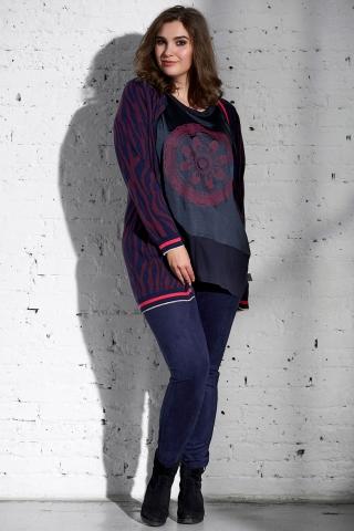 Grote maten Shirt Adia satijn print paneel voor   AD803315mina/4644S=42-44