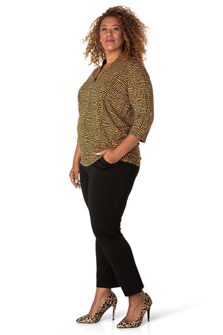 Grote maten Shirt Yesta 76 cm V hals print | A0001141095X-0(44)