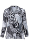 Grote maten Blouse Chalou patchwork print   CH2195Grey46