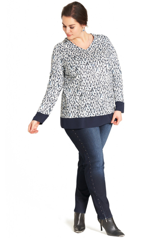 Shirt Sempre Piu penguin print | S8568Navy50