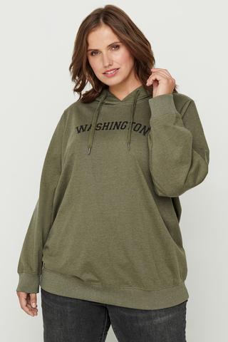 Grote maten Sweater GUN Zizzi opdruk capuchon | V59042B0199S