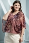 Grote maten Blouse KOBO Zhenzi tricot boord | 2807543roze/prinS=42-44