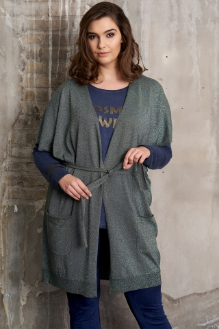 Grote maten Vest Adia mouwloos glans brei | AD804606Teal/4707L=50-52