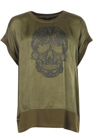Adia shirt skull opdruk satijn look | AD3018rozeM=46-48
