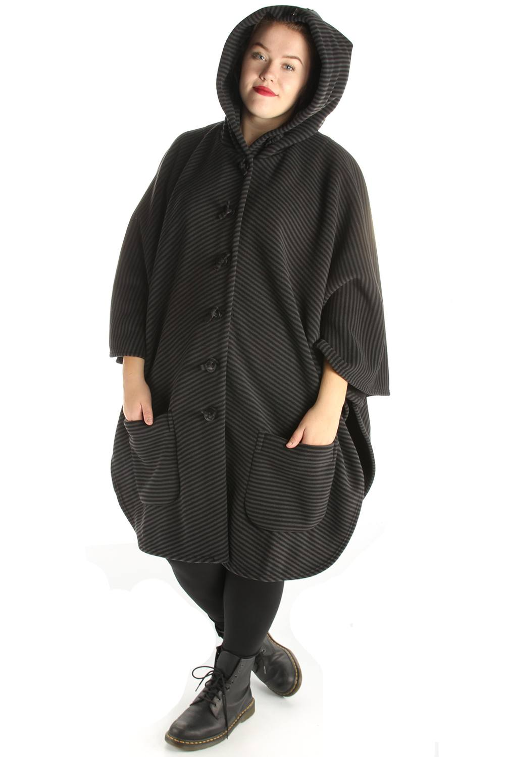 Jas Boris fleece wijd poncho capu