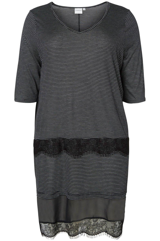 Jurk DAISY Junarose streep black/grey