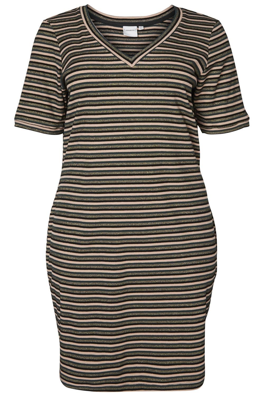 Jurk streep DAPHNE Junarose green/stripes