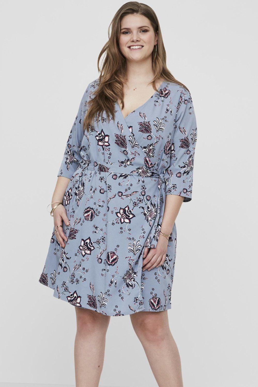 Junarose jurk Maya omslag ashley blue/aop