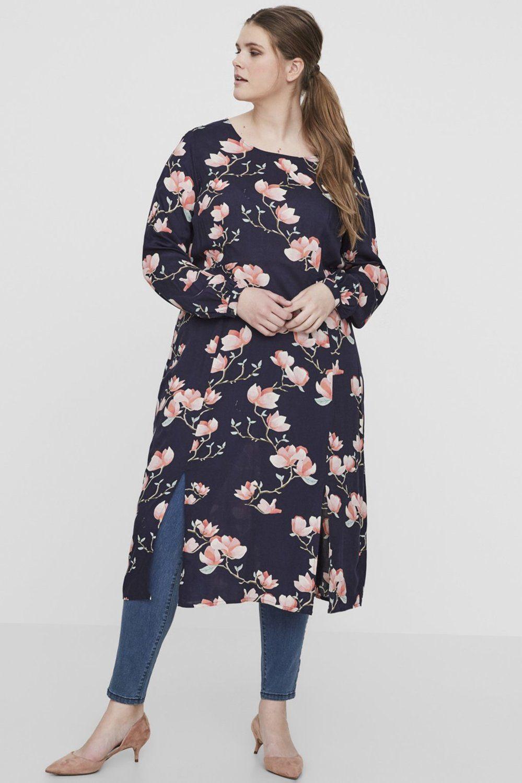 Junarose jurk Anine bloemprint navy blazer/aop