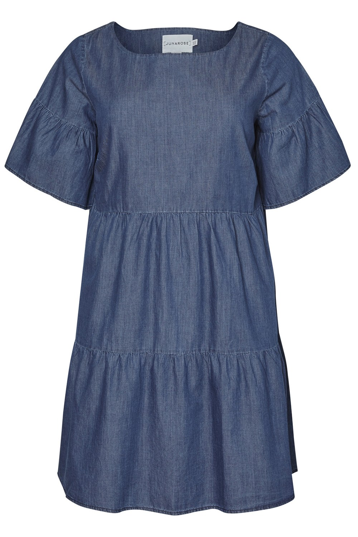 Junarose jurk Allegra denim medium blue denim