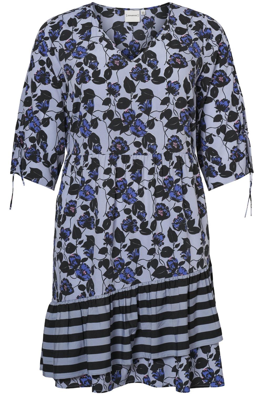 Jurk LEA Junarose bloem streep combi blauw/bloem
