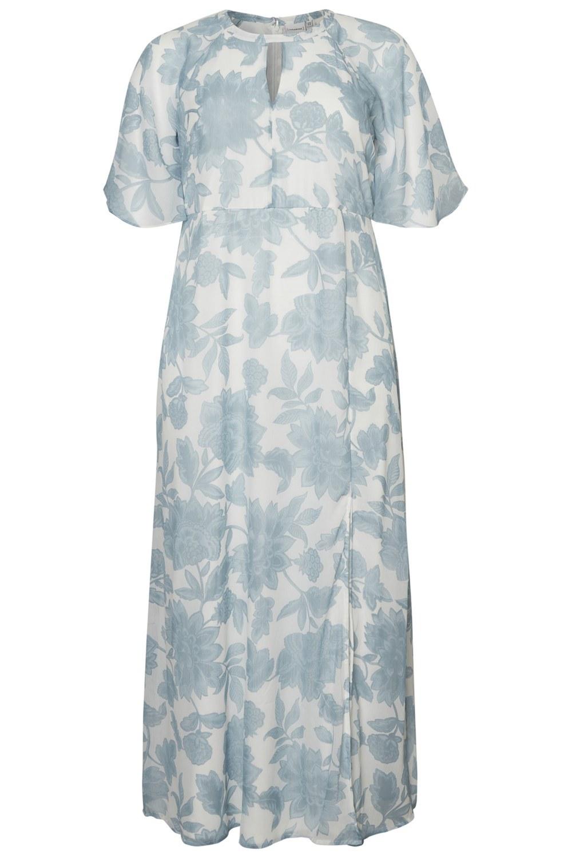 Junarose jurk Amia maxi met split snow white/aop