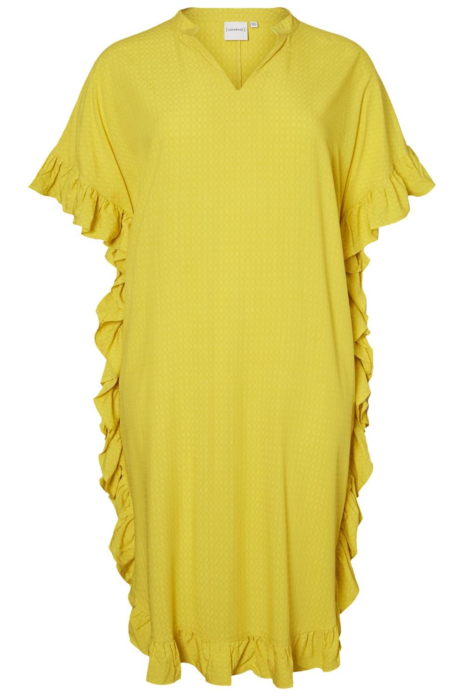 Junarose jurk PALMIRA met ruches sulphur