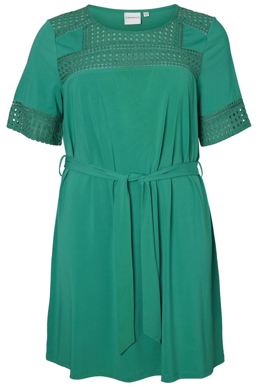 Junarose jurk Faber met ceintuur pepper green