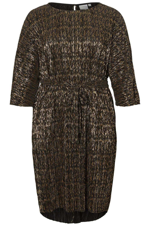 Junarose jurk PALIPA plisse black/gold