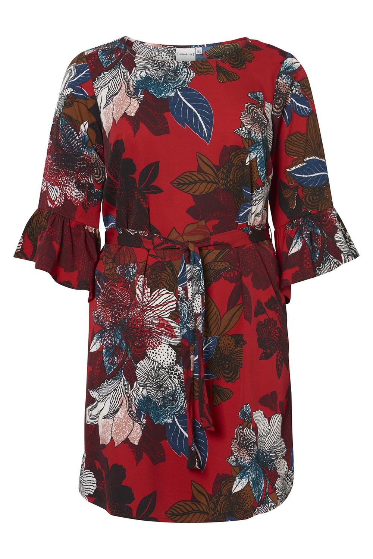Junarose jurk PAULINE trompetmouw chili/flower