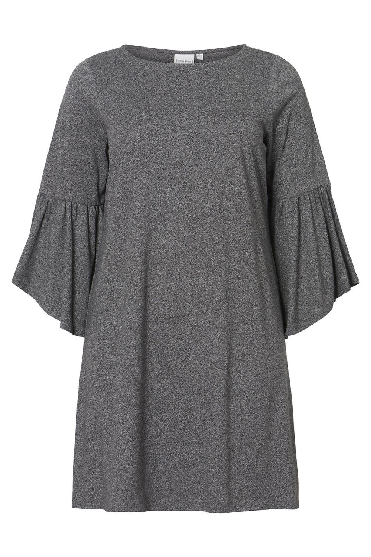 Junarose jurk HALIA flare sleeve black melange