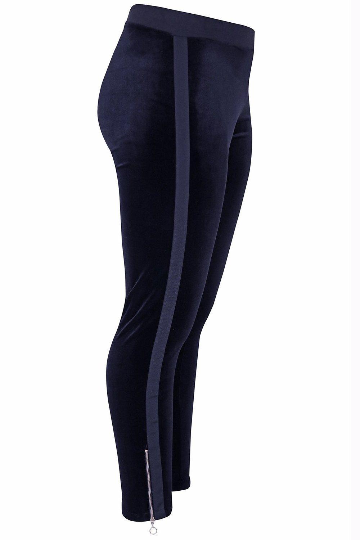 Legging Mat fashion velour zijrits
