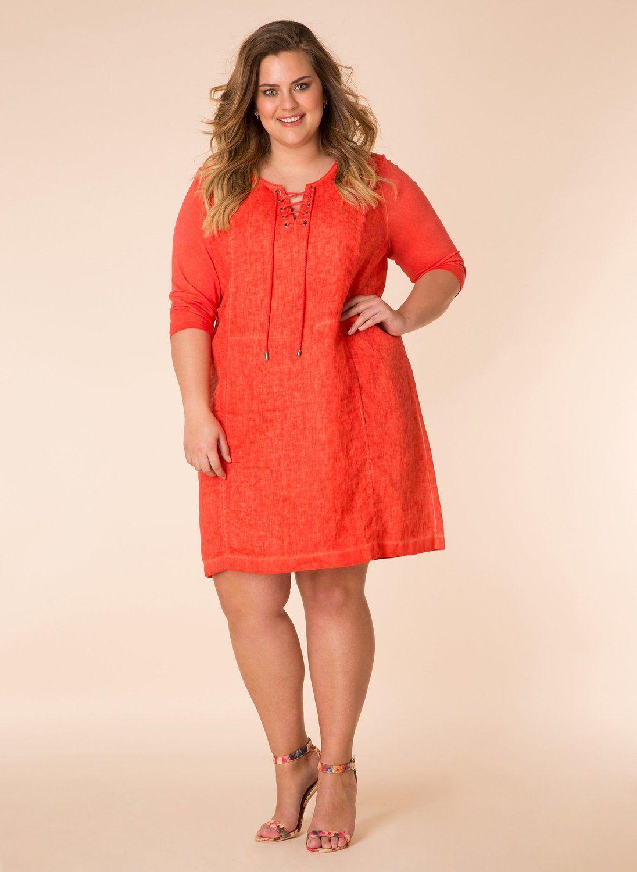 Yesta jurk met touwtje bij hals hot red/hot coral