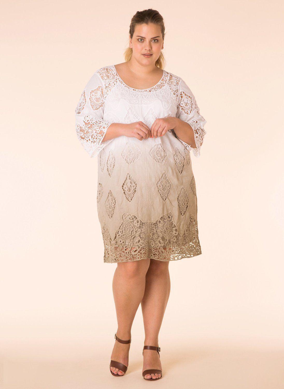 Yesta jurk twee lagen gehaakt r76/white/aop